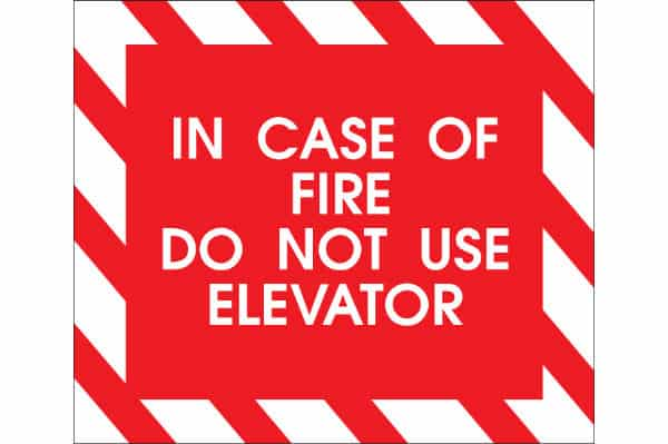 In case of fire, do not use elevator sign