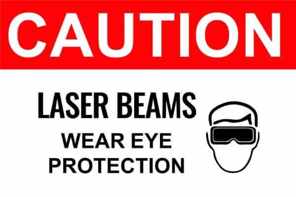 CAUTION - Laser Beams Wear Eye Protection - Compliance Sign