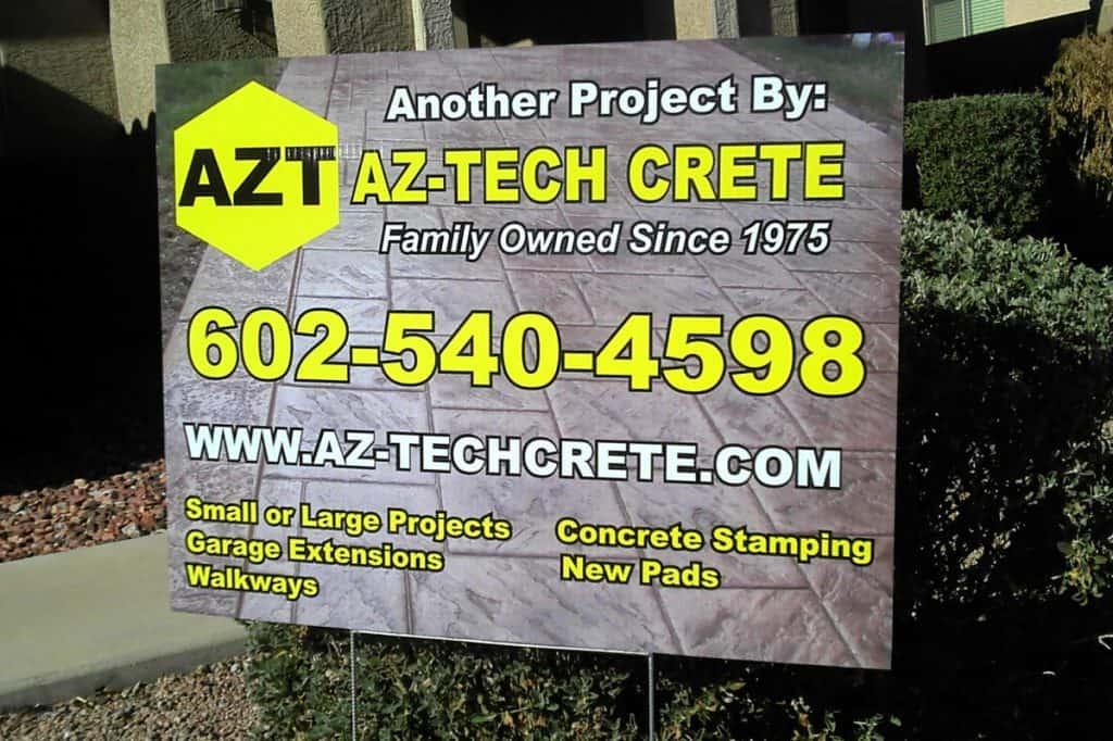 Yard & Sidewalk Signs - AZ-Tech Crete