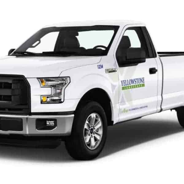 Cropped view of yellowstone landscaping truck for fleet branding