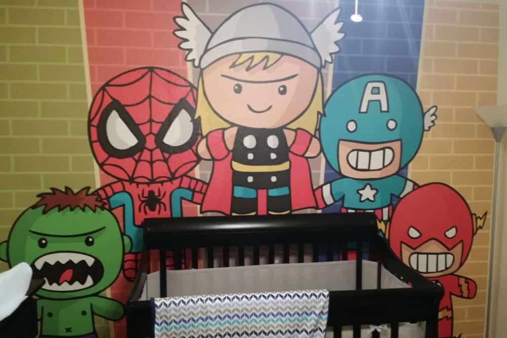 Custom home decor wallpaper of cartoon Avengers as children