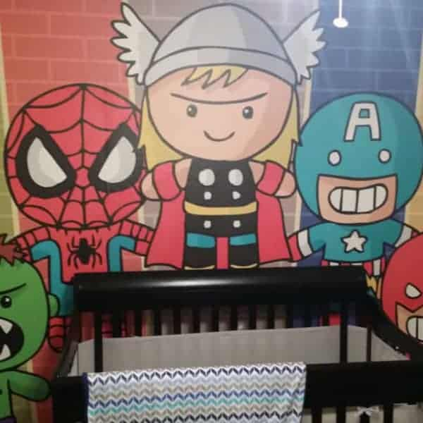 Avengers printed on child's wall